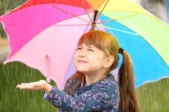 Портрет милой девушки с зонтиком Стоковые Фото