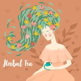 Портрет милой женщины выпивая чашку изображения вектора травяного ча иллюстрация штока
