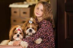 Портрет милой маленькой девочки с tzu shih 2 собак Стоковое Изображение