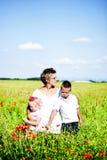 Портрет милой семьи в поле мака стоковые фотографии rf