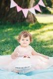 Портрет милого прелестного кавказского ребёнка с глазами темного коричневого цвета в розовом платье балетной пачки празднуя ее пе Стоковая Фотография