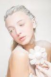 Портрет милой девушки есть зефиры Фото искусства напудренный сахар Стоковые Фото