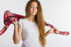 Портрет милой капризной девушки в рубашке Стоковое фото RF
