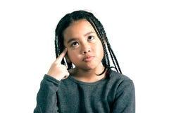портрет милый думать маленькой девочки Стоковые Фото