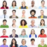 Портрет многонациональных красочных разнообразных людей стоковые изображения