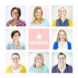 Портрет многонациональных разнообразных жизнерадостных женщин Стоковые Изображения