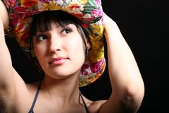 портрет модели шлема ковбоя Стоковое фото RF