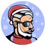 Портрет модного Санта Клауса - хипстер иллюстрация штока
