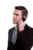 Портрет молодого бизнесмена на телефоне. Стоковое Изображение