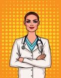Портрет молодого женского доктора в форме Иллюстрация вектора