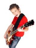 Портрет молодого мальчика с электрической гитарой Стоковая Фотография RF