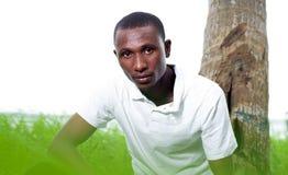 Портрет молодого человека сидя в траве стоковая фотография rf