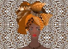 Портрет молодой африканской женщины в красочном тюрбане Оберните моду Афро, Анкару, Kente, kitenge, африканские платья женщин иллюстрация штока