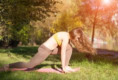 Портрет молодой женщины в парке города осени Девушка спорта делая йогу снаружи Стоковое Фото