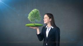 Портрет молодой женщины держа зеленое дерево на открытой ладони руки, над изолированной предпосылкой студии Дело, концепция eco Стоковое Фото