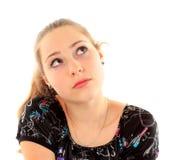 Портрет молодой женщины изолированной на белой предпосылке Стоковые Фотографии RF