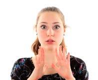 Портрет молодой женщины изолированной на белой предпосылке Стоковое Фото