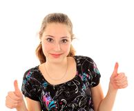Портрет молодой женщины изолированной на белой предпосылке Стоковое Изображение