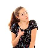 Портрет молодой женщины изолированной на белой предпосылке Стоковое фото RF