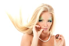 Портрет молодой женщины мифологии русалки красивой волшебной с l стоковое фото