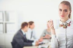 Портрет молодой женщины работая на положении офиса 15 детенышей женщины Стоковые Фотографии RF