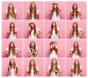 Портрет молодой женщины с счастливыми и несчастными выражениями лица Стоковое Изображение