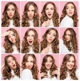 Портрет молодой женщины с счастливыми и несчастными выражениями лица Стоковые Фотографии RF