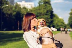 Портрет молодой женщины целуя ее милую собаку бигля Любовь, счастливый, целуя щенка стоковые изображения