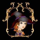 Портрет молодой красивой девушки в хеллоуине или дне De Стоковая Фотография RF