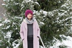 Портрет молодой красивой девушки outdoors в зиме Стоковое фото RF