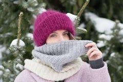 Портрет молодой красивой девушки outdoors в зиме Стоковое Изображение RF