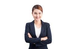 Портрет молодой привлекательной бизнес-леди изолированной на белизне стоковая фотография