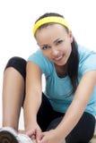 Портрет молодой счастливой женщины на тренировке пригодности Стоковое Изображение