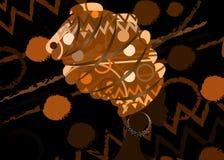 Портрет молодой чернокожей женщины в тюрбане Красота африканца анимации Vector иллюстрация цвета изолированная на предпосылке бат бесплатная иллюстрация