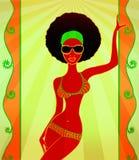 Портрет молодой чернокожей женщины на этническом происхождении, иллюстрации Стоковая Фотография RF