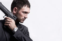 Портрет молодого человека с пушкой Стоковое Изображение RF