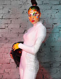 Портрет модели с яркое творческим составляет Стоковая Фотография