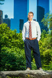 Портрет молодого американского бизнесмена работая в Нью-Йорке в su Стоковые Изображения RF