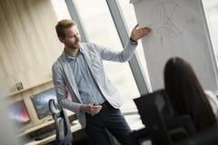 Портрет молодого бизнеса лидер давая представление к его коллегам Стоковое фото RF
