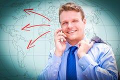 Портрет молодого бизнесмена говоря на телефоне Стоковое Фото