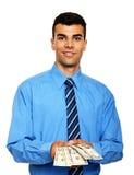Портрет молодого бизнесмена с деньгами Стоковое Изображение RF