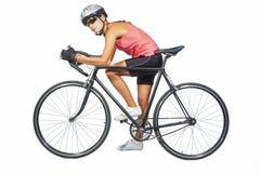 Портрет молодого женского профессионального задействуя спортсмена представляя острословие Стоковые Фото