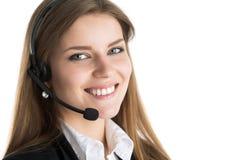 Портрет молодого красивого работника центра телефонного обслуживания Стоковое фото RF