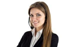 Портрет молодого красивого усмехаясь работника центра телефонного обслуживания Стоковые Фото