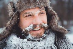 Портрет молодого красивого человека с бородой Конец персоны вверх бородатого человека Стоковые Фотографии RF