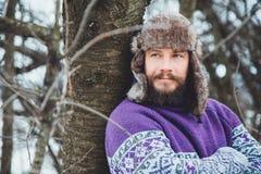 Портрет молодого красивого человека с бородой Конец персоны вверх бородатого человека Стоковая Фотография