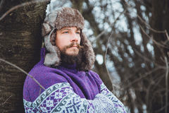 Портрет молодого красивого человека с бородой Конец персоны вверх бородатого человека Стоковое Фото