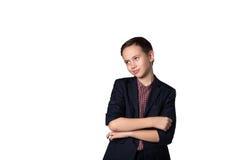 Портрет молодого мальчика дела в костюме стоковое фото rf