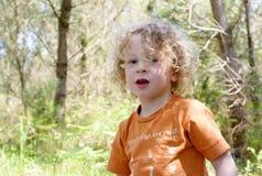Портрет молодого мальчика с белокурым вьющиеся волосы Стоковое Фото