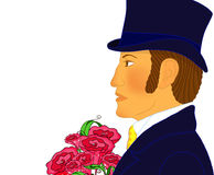 Портрет молодого романтичного джентльмена с пуком цветков бесплатная иллюстрация